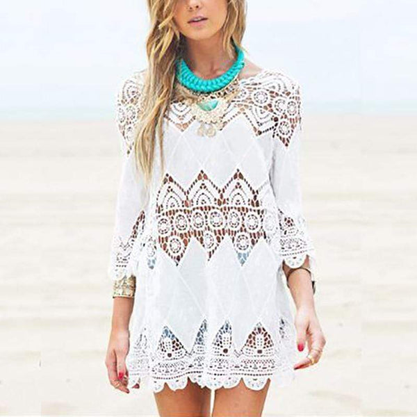 Casual Embroidery Hollow Out Beach Dresses