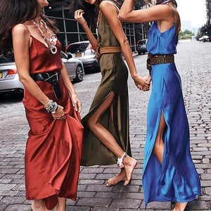 Sexy Bare Back Pure Colour Slit Sling Dresses