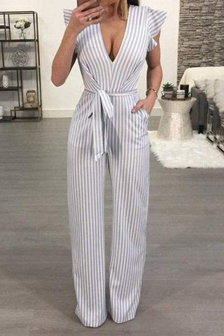 Casual V Neck Striped Sleeveless Bare Back Jumpsuits
