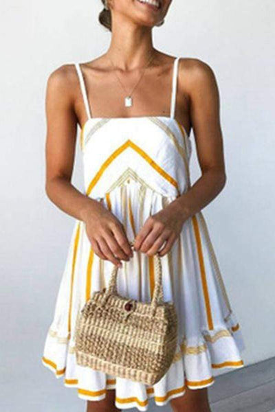 Summer Spaghetti Strap Ruffle Vacation Mini   Dress