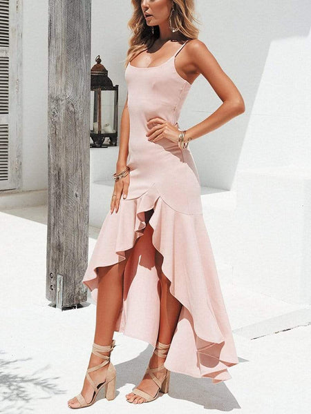 Sexy Ruffled Wide-Spreaded   Mopped Solid Color Dress