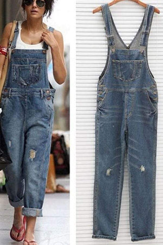 Women Vintage Wash Straight Leg Denim Jumpsuit With Pocket Bib