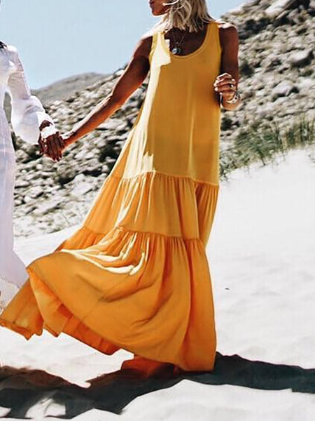 Sexy Round Neck Pure Colour Sleeveless Maxi Dresses