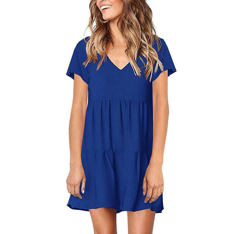 Casual Sexy V Neck   Short Sleeve Pure Color Mini Dresses