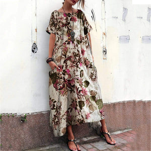 Cotton And Linen Printed Medium Length Pocket Maxi Dress