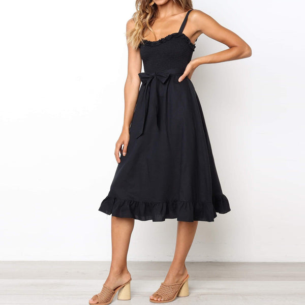 Wrapped Chest Strap Waist Bow Dress