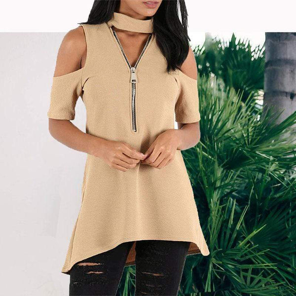 Fashion Off-Shoulder Zipper V Neck Mini Dresses