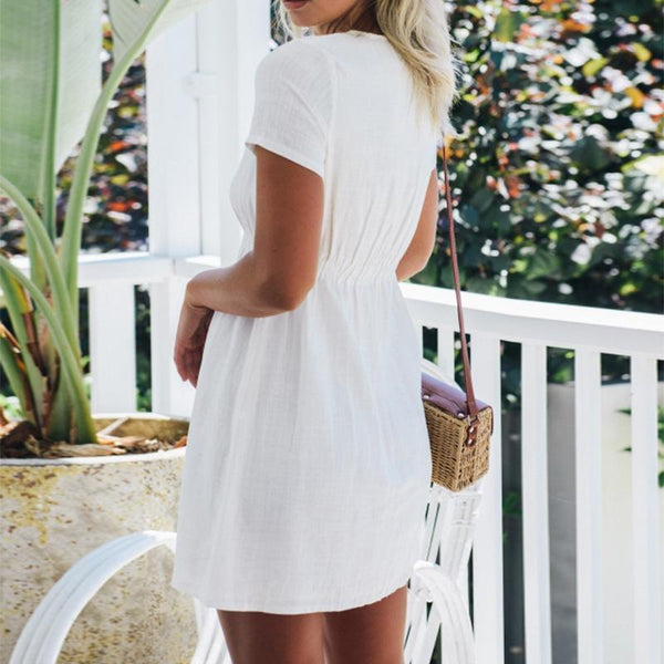 Sex Vacation V-Neck Button Mini Dress