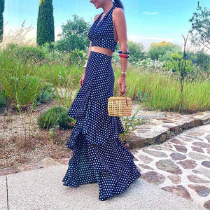 Bohemian V Neck Bare Back Sleeveless Polka Dot Suit