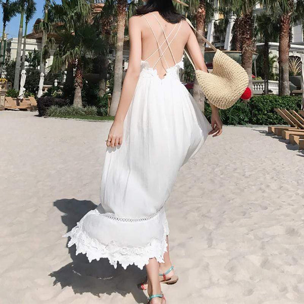 modevova Sexy Bare Back Pure Colour Slim Maxi Dresses