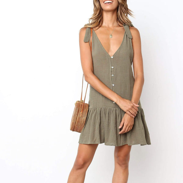 Fashion V Collar Plain Button Embellished Vacation Mini Dress