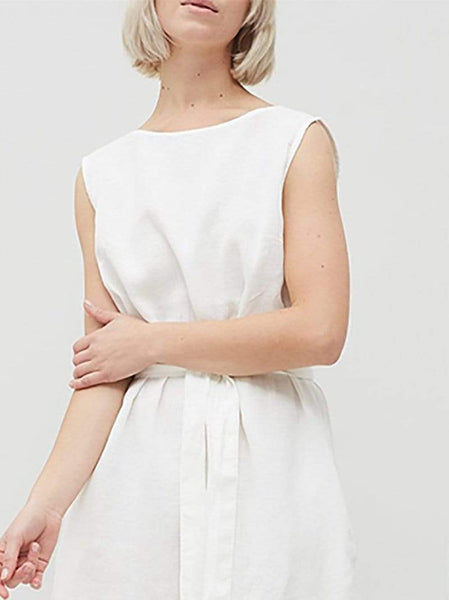 Casual Short Sleeve Sleeveless Pure Colour Belted Dresses