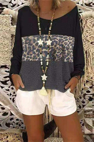 Casual Round Neck Leopard Print Long Sleeve T-Shirt