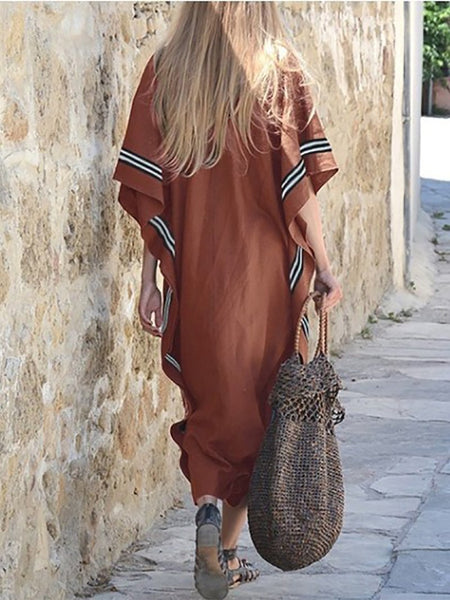Casual V Neck Loose Bat Sleeve Maxi Dresses