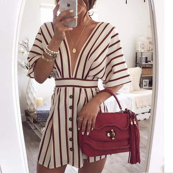 Casual Deep V Button Short Sleeve Mini Dresses
