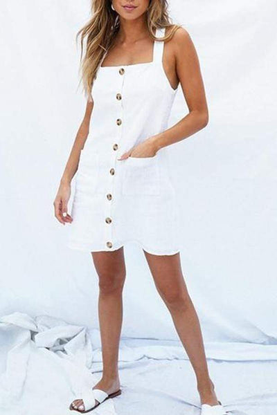 Casual Pure Colour Button Sling Sleeveless Mini Dresses