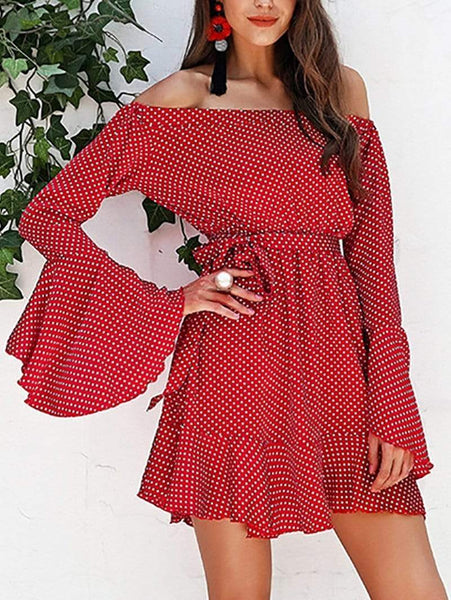 Casual Boat Neck Polka Dot Long Sleeve Mini Dresses