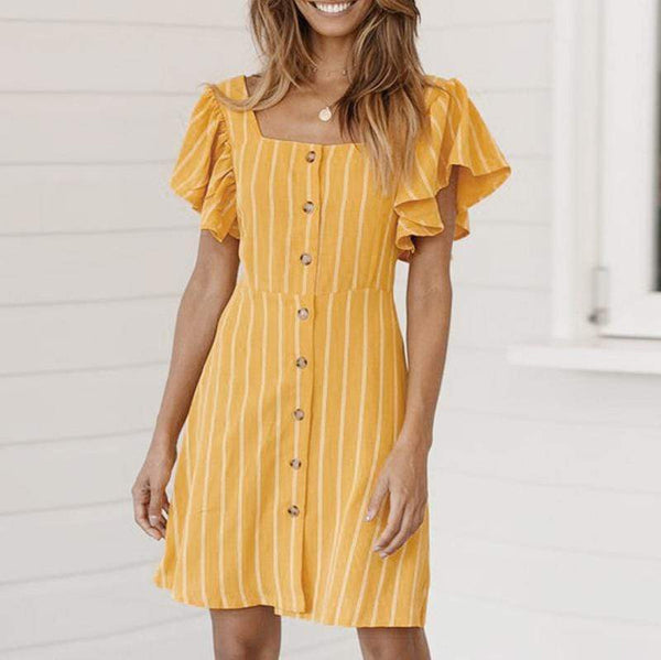 Commuting Square-Cut Collar Ruffled Belted Stripe dress