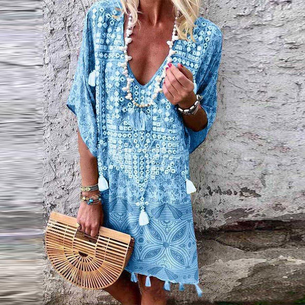 Women Sexy Bohemian V-Neck Print Party Beach Summer Sundress