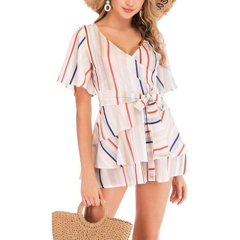modevova Sexy V Neck Short Sleeve Striped Belted Casual Dresses
