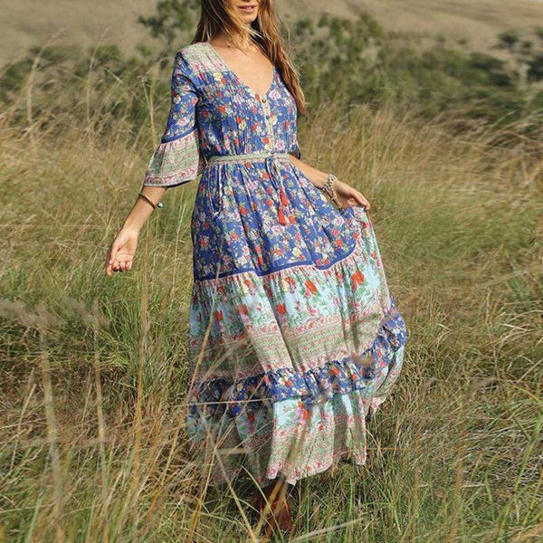 Bohemian Halflong Sleeve V Neck Printed Colour Maxi Dresses