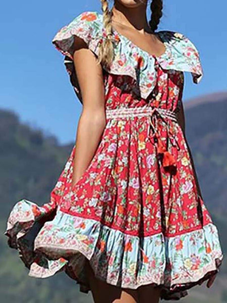 Bohemian Pleated Printed Colour Splicing Ruffled Dress