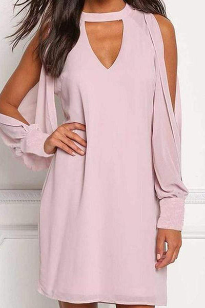 Fashion Long Sleeves Pure Color Off The Shoulders Dress