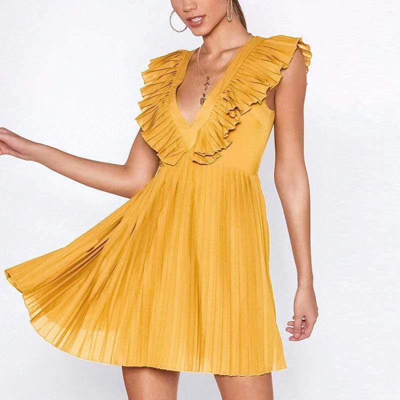modevova Sexy Deep V Hollow Out Pure Colour Mini Dresses