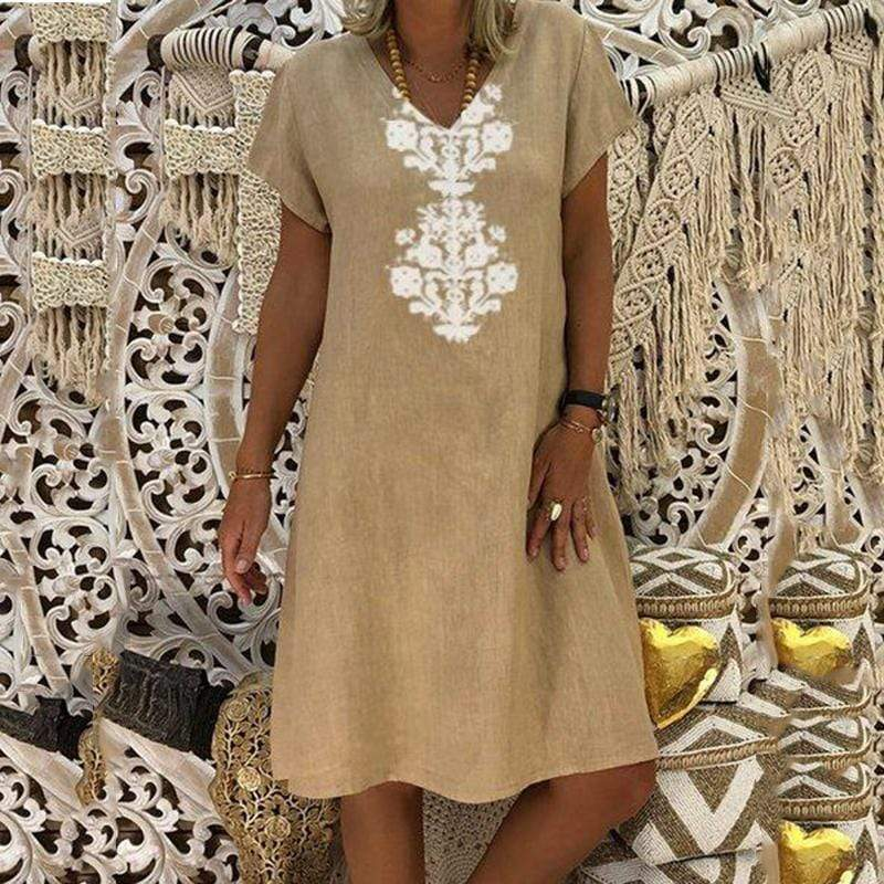 Sexy Short Sleeve V-Neck Printing Dress