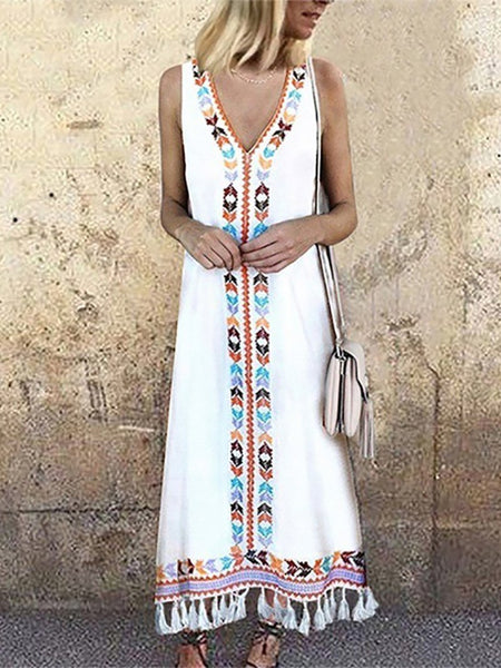 Bohemian V Neck Sleeveless Printed Colour Tassel Dress