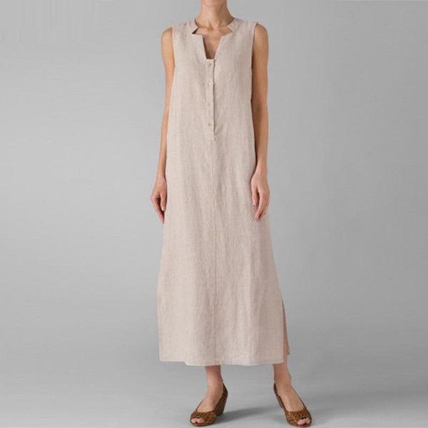 Elegant V Neck Single-Breasted Sleeveless Dress