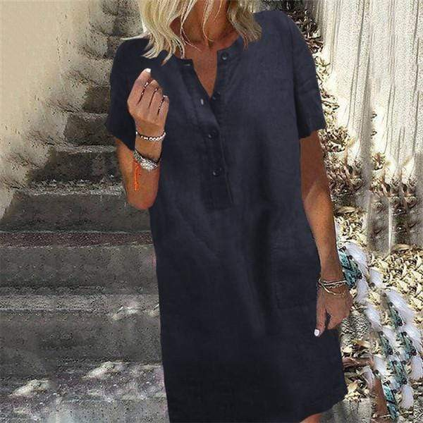 Fashion Cotton Loose Short Sleeves Casual Dresses