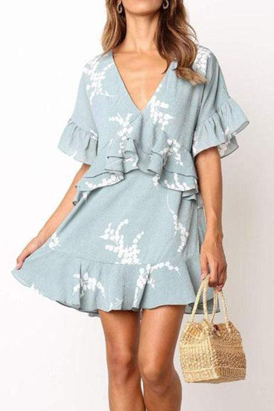 V-Neck Ruffled Printed   Short-Sleeved Dress