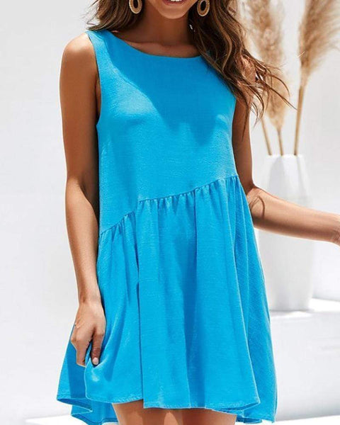 Cotton And Linen Backless Pleated Dress