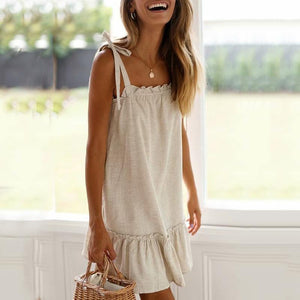 Commuting Ruffled Pleated Sleeveless Off-Shoulder Dress