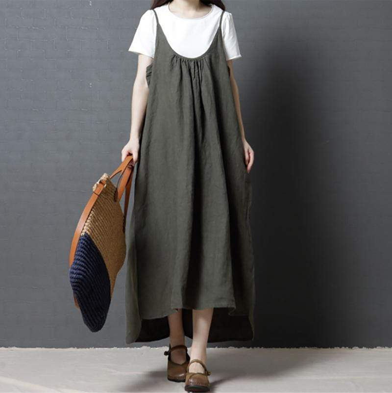 Women's Loose Large Size Fashion Comfortable Plain Color Sling Casual Dress