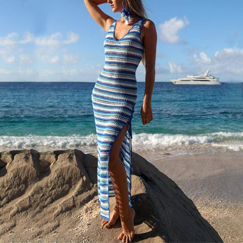 Sexy Knit Stripe Sleeveless Sling Dress