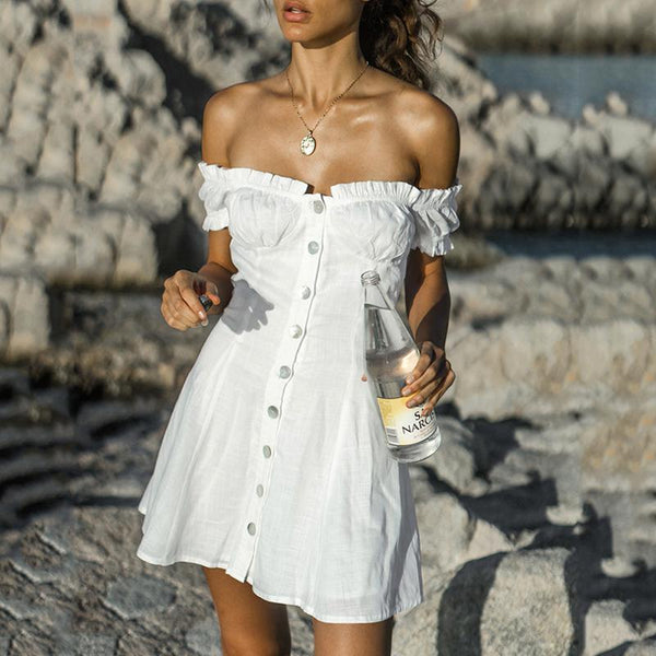 Sexy Boat Neck Pleated Off-Shoulder Bare Back Single-Breasted Dress