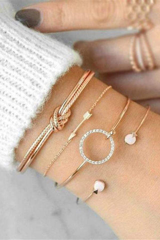 Fashion Circle Knotted Zircon Arrow Open Bracelet