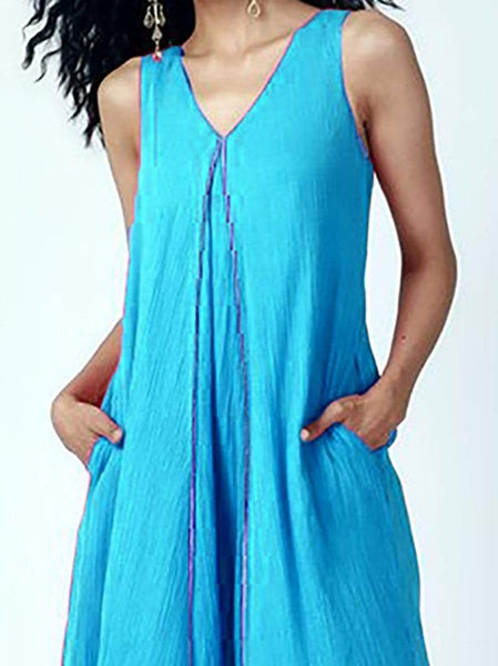 Casual V Neck Irregular Sleeveless Pure Colour Dress