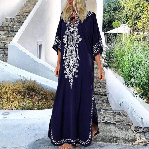 Bohemian V Neck Belted Bat wing Sleeve Dress