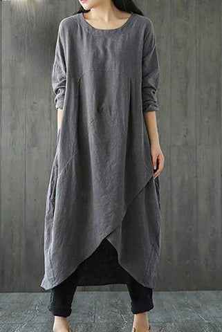 Female National Style Pure Color Loose Thin Casual Dress