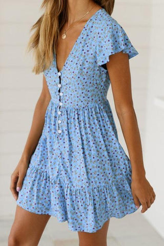 Sexy Ruffled V-Neck Printed Dress