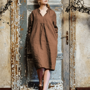 Fashion Cotton And Linen Long Sleeve V Collar Casual Dresses