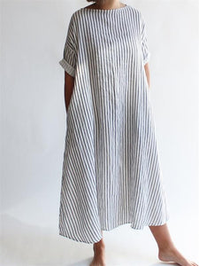 Fashion Japanese Stripe Cotton Casual Dresses