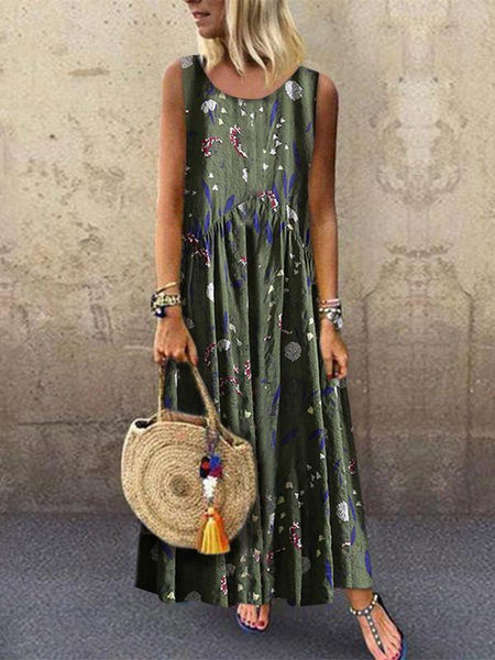 Fashion Floral Stitching Round Neck Sleeveless Loose Casual Dresses