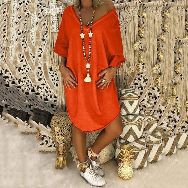 Casual V Neck Bat wing Sleeve Pure Color Dress