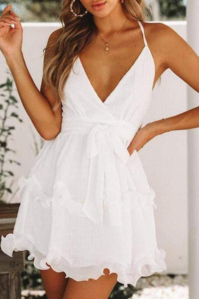 Chiffon Mini V-Neck Halter Sling Waist Tie Short Dress