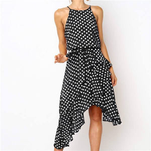 Fashion Polka Dot Sleeveless Irregularity Casual Dresses