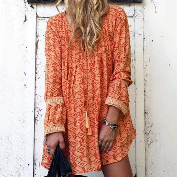 V Collar Long-Sleeved Lace Splice Dress